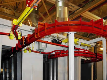 Power and free conveyor system goes through paint oven