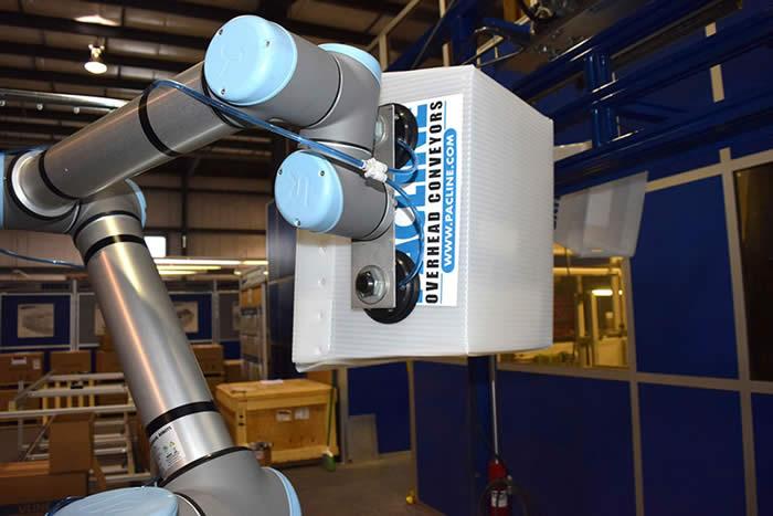Robotic unload/load onto monorail conveyor