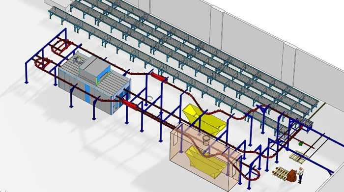Dip line overhead conveyor in solidworks