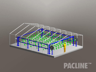 Overhead conveyors designed to handle hanging plants for high density vertical farming and greenhouse growing operations.