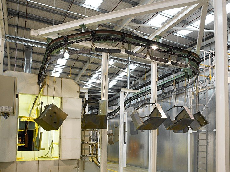 I-beam monorail conveyor for powder coating