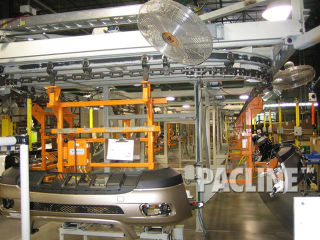 Assembly of automobile bumper fascia on I-Beam monorail conveyor.