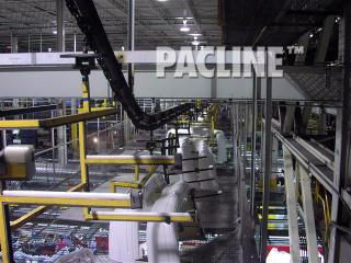 Transfer line for automobile bumper fascia using multi-level I beam overhead conveyor.