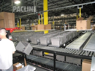 Operator area for Value Added Services provides delivery of cartons and removes plastic totes.