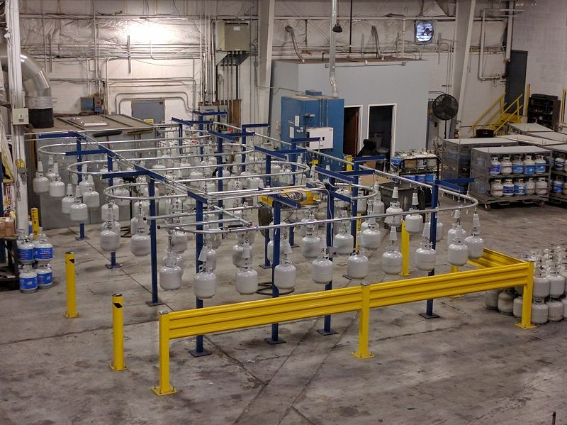 Overhead conveyor is easy to install, bolt togther track, no welding required.