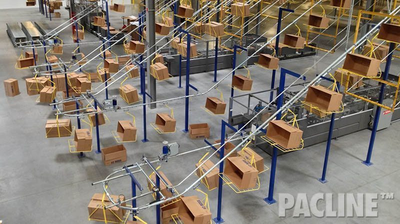 Box conveyor system for large distribution center. Delivers empty cartons from carton erector to packing areas.