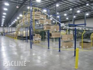 Carton overhead conveyor for distribution center.