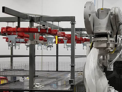 high capacity overhead conveyor for lost-wax casting