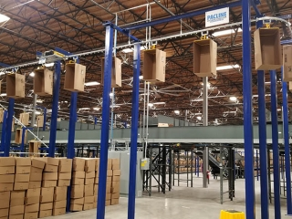 empty case monorail conveyors for distribution centers and warehouses