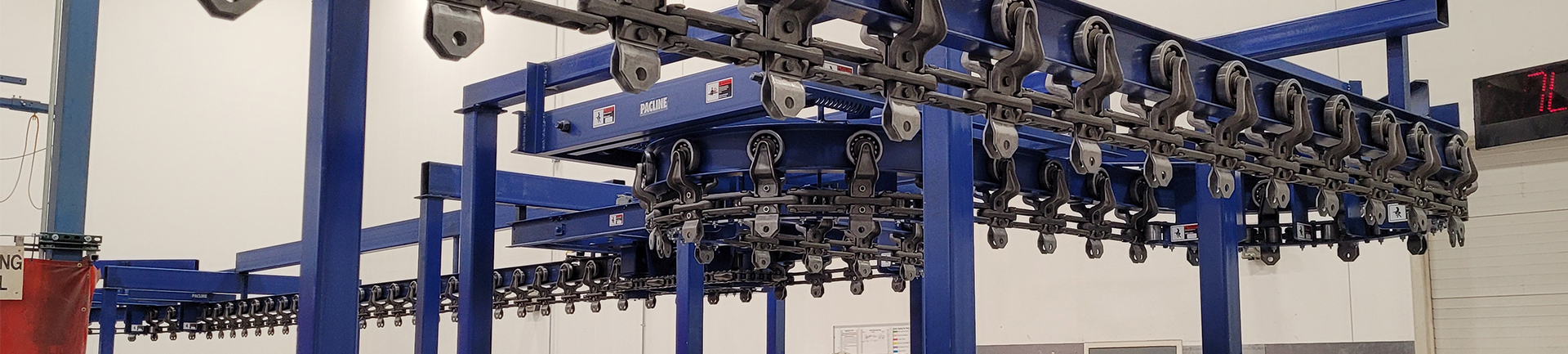 Powered I-beam monorail conveyor systems are an inexpensive material handling option.